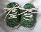 Sage Field -  Handmade green baby shoes / booties, green and white shoes, baby clothes, 6 month baby clothes, newborn baby shoes, 3 month