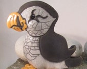 Raku Pottery Clay Puffin ceramic animal pottery rustic decor clay bird orange and white crackle glaze Cape Breton Puffin