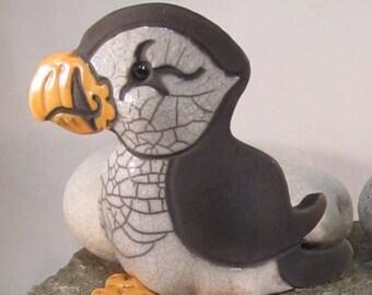 Raku Pottery Clay Puffin ceramic animal pottery rustic decor clay bird orange and white crackle glaze Cape Breton Puffin
