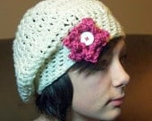 Cheltzie Beret cream and pink.  Teenage - Young Adult size