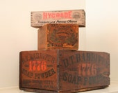 Vintage wooden crates boxes-set of 3