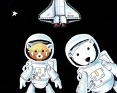 Walter the Red Panda and Jack the Polar Bear aboard Space Shuttle Atlantis Final Flight 8 x 10 inch print by SBMathieu