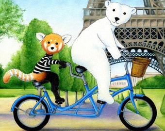 Walter the Red Panda and Jack the Polar Bear's Tandem Bike Ride in Paris 8 x 10 inch Print by SBMathieu
