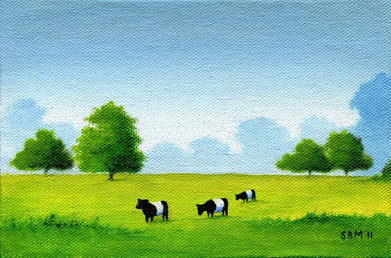 Three Belted Galloways No. 3 ---   4 x 6 Original Painting by SBMathieu