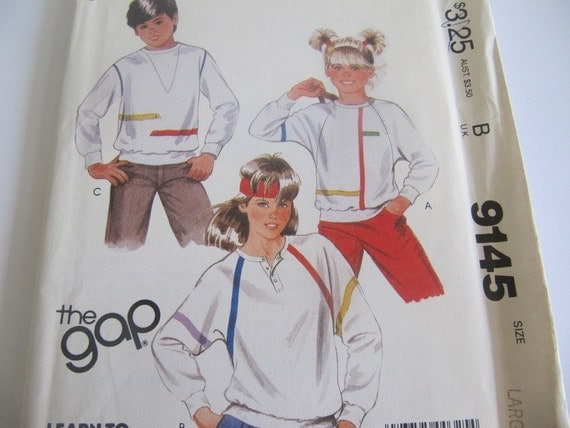 1980s UnCut Girls and Boys Tops Sewing Pattern