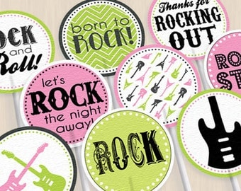 ROCK GUITAR Girl Birthday Party Circles & Cupcake Toppers in Pink and Lime Green