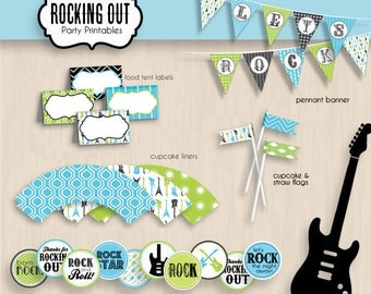 ROCK GUITAR Birthday Party Printable Package in Turquoise Aqua Blue and Lime Green- Instant Download