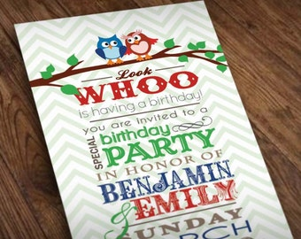 TWIN OWL Birthday Party Invitation in Blue and Red