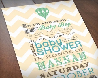HOT AIR BALLOON Baby Shower Printable Invitation in Seafoam Green and Teal