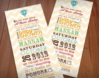 HOT AIR BALLOON Baby Shower Printable Invitation in Vintage Rainbow