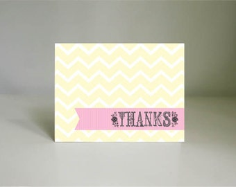 SWEET BLOOMS Thank You Card in Pink, Cream Yellow, and Gray- Instant Printable Download