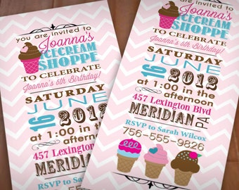 ICE CREAM Birthday Party Printable Invitation