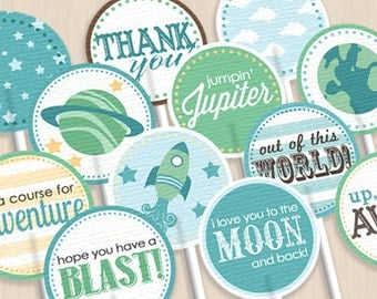 SPACE ROCKET Cupcake Toppers & Party Circles in Seafoam and Teal- Instant Printable Download