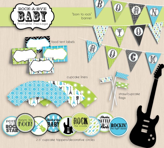 ROCK-A-BYE Baby Shower Printable Package in Turquoise Blue and Lime Green- Instant Download
