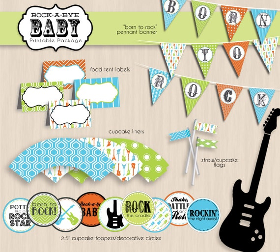 ROCK-A-BYE Baby Shower Printable Package in Orange, Turquoise Blue, and Lime- Instant Download