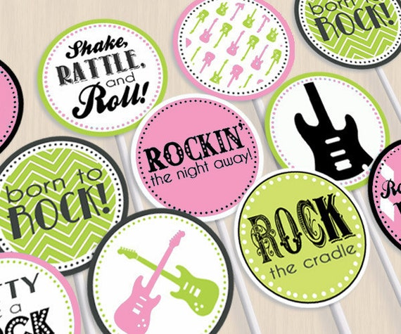 ROCK GUITAR Baby Girl Party Circles & Cupcake Toppers in Pink and Lime Green- Instant Printable Download