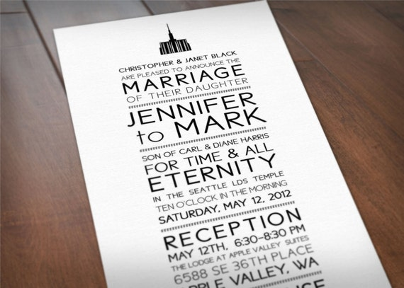 items similar to lds temple printable wedding invitation and
