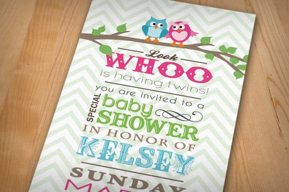 TWIN OWL Baby Shower Printable Invitation in Pink & Teal
