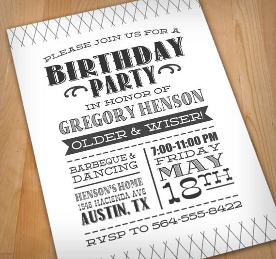 Digital Birthday Party Invitation – Letterpress Party Invitations