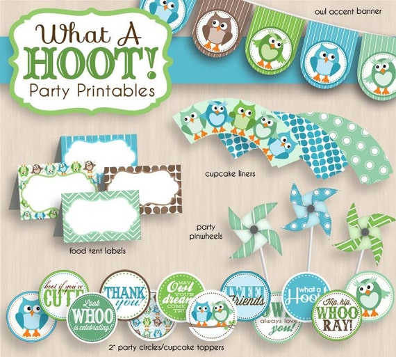 BABY OWL Shower Printable Package in Seafoam Green & Teal- Instant Download