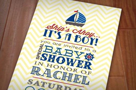 SHIP'S AHOY Baby Shower Printable Invitation in Red, Navy Blue, and Yellow