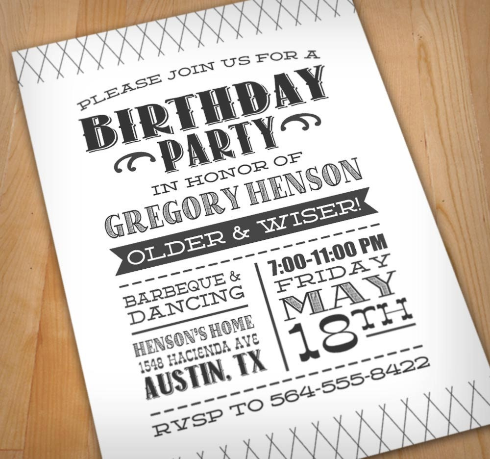 Letterpress Digital Birthday Party Invitation