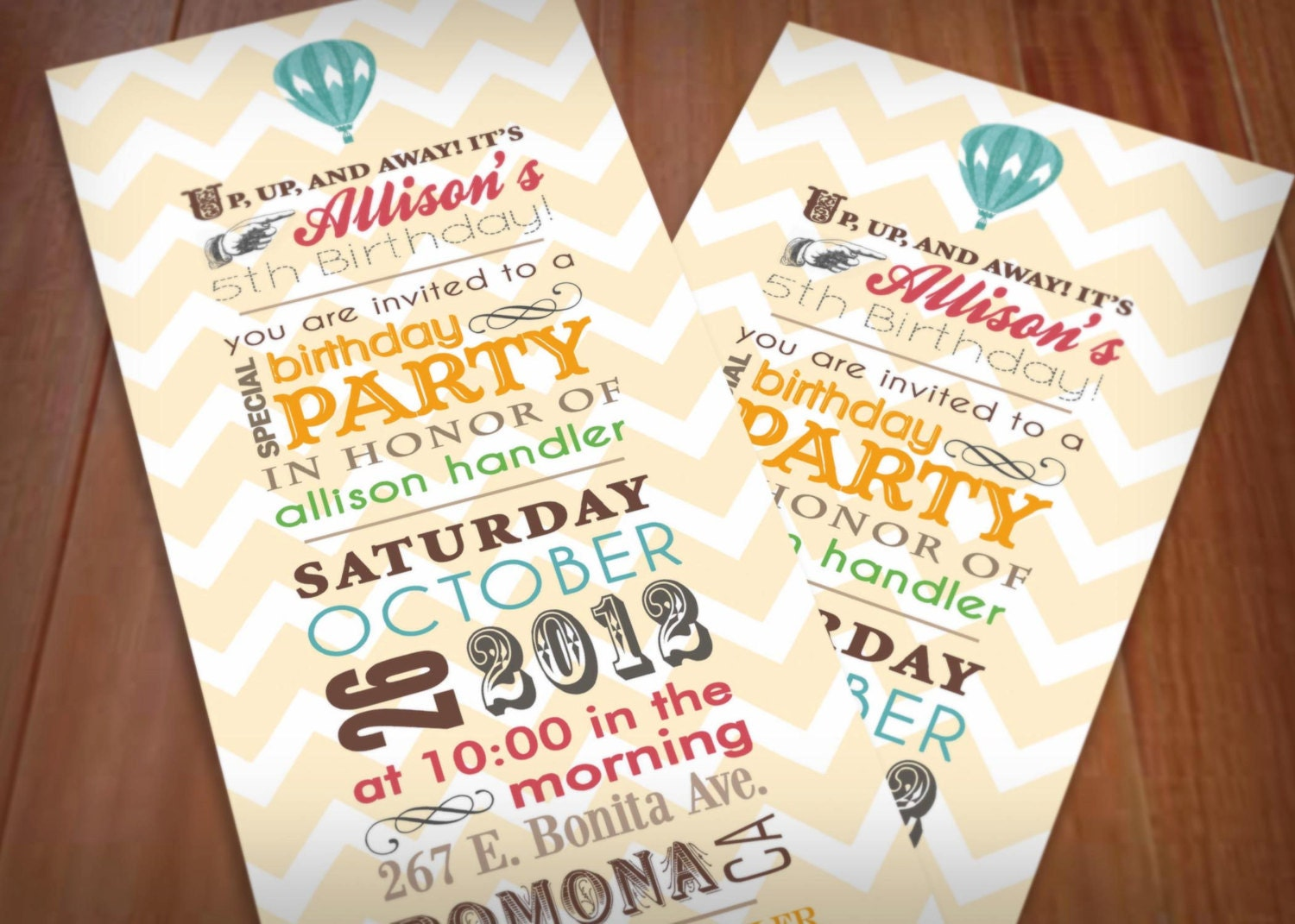 HOT AIR BALLOON Printable Birthday Invitation In Vintage - Retro birthday invitation template