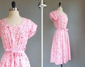 70s dress medium - 1970s pink and white daisy floral pattern large summer (w17hp01-1)