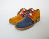 60s 70s shoes size 5 / red yellow blue suede small shoes : Walk With Me (0960m01-1)