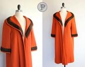 60s coat medium large - 1960s fall coat pumpkin orange rust : the Marge (w200o02-1)