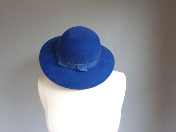 SALE labor day 15% off // hat - royal blue cartwheel hat brim bow deep blue  (ww80sa00-1)