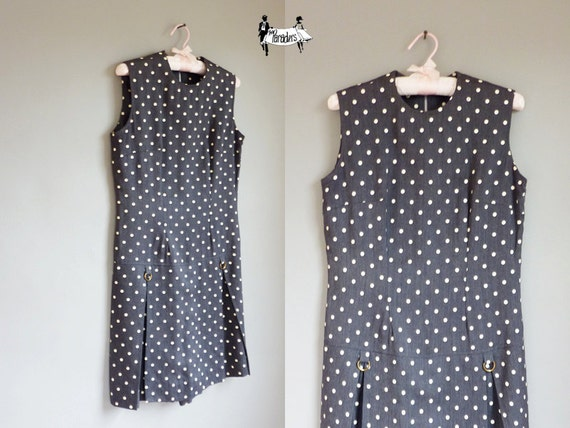 SALE // 60s romper medium - 1960s sailor dress skorts large polka dot gray : The Sandlot
