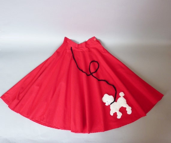 SALE 20% off // 50s circle skirt xs - 1950s poodle skirt red full felt school dance prom: Raving Red (w350r01-1)