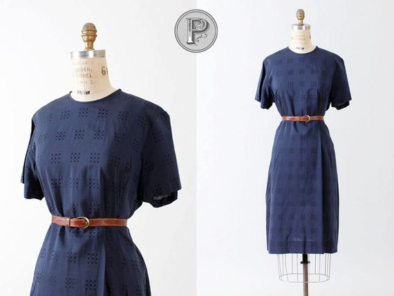 60s dress xl - navy blue sailor dress embroidered pattern : Daphne
