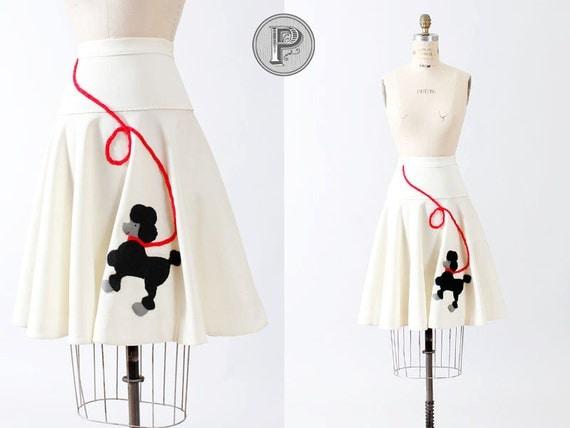 50s circle skirt xs - 1950s poodle skirt white cream full felt school dance prom: Dance-A-Thon