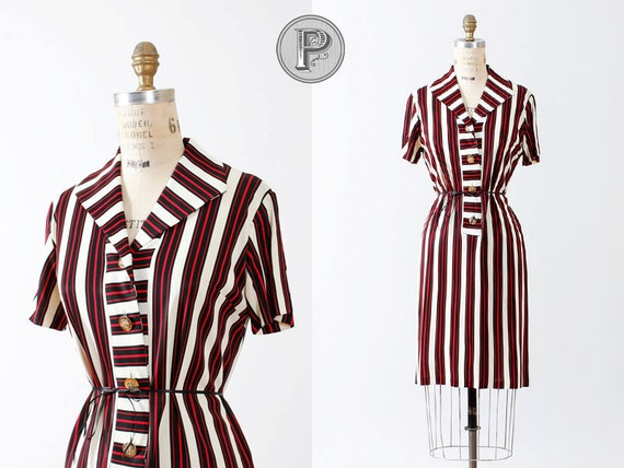 60s dress large / 1960s black red white striped nautical : Aces High