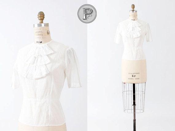blouse small / edwardian white blouse lace ascot button up : White Rabbit