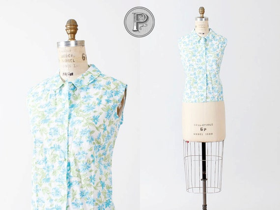 1960s blouse large xl / 60s button up top blue green : Tropics