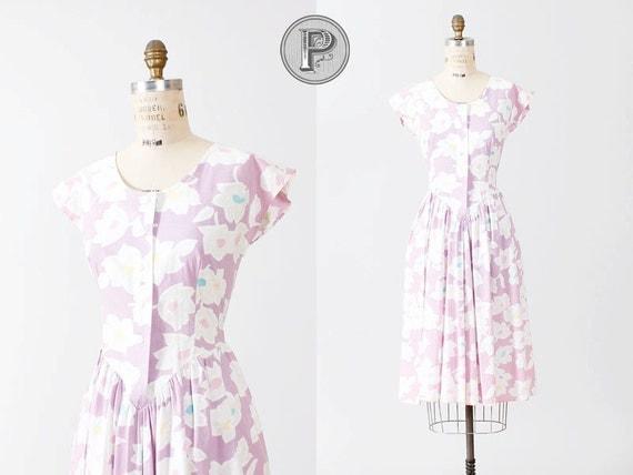 80s dress medium / 1980s dress pastel floral : Boysenberry
