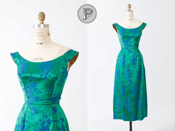 reserved for laura // 60s dress xs / 1960s formal dress green blue : Cotillion