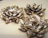 Handmade Paper Flowers - Set of 3 Sheet Music Large Tea Roses
