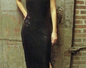 Roxanna, 70's Black Sequined Halter Evening Gown