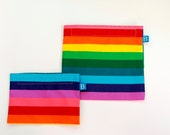 Reuseable Eco-Friendly Set of Snack and Sandwich Bags in Rainbow Striped Fabric