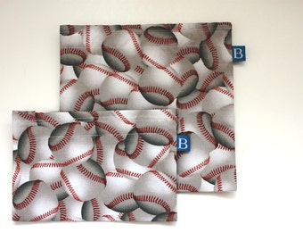 Reuseable Eco-Friendly Set of Snack and Sandwich Bags in Baseball Fabric