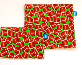 Reuseable Eco-Friendly Set of Snack and Sandwich Bags in Football Fabric