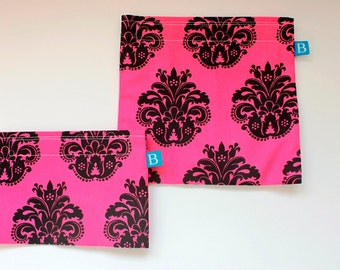 Reuseable Eco-Friendly Set of Snack and Sandwich Bags in Black and Hot Pink Damask Print Fabric