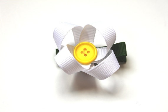 Ribbon Daisy Hair Clip in White Ribbon with Yellow Button Center