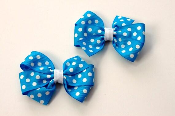 Aqua Polka Dotted Pinwheel Bows