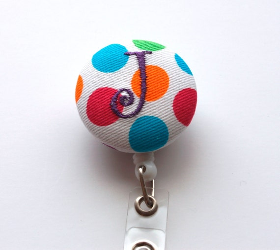 Monogrammed Fabric Covered Button Badge Reel