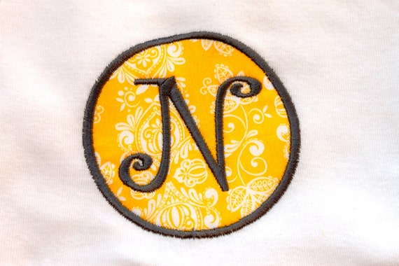 Personalized Embroidered Circle Monogram on Girls Cotton T Shirt